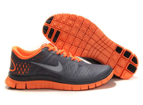 Nike Free Run 4.0 Womens & Mens (unisex) Black And Gray Orange Taiwan