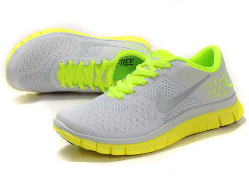 Nike Free Run 4.0 Womens Gray Yellow And Green Inexpensive