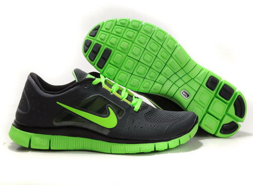 Nike Free Run 5.0 Mens Black Fluorescent Green Cheap