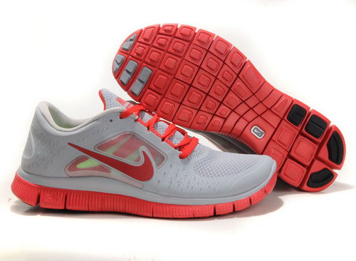 Nike Free Run 5.0 Mens Grey Red Reduced