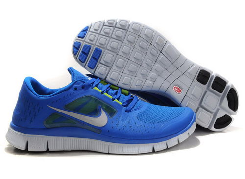 Nike Free Run 5.0 Womens & Mens (unisex) Flying Blue Reflective Silver Pure White Inexpensive