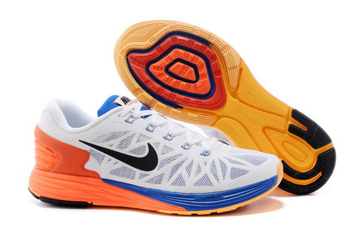 Nike Lunarglide 6 Trainers Men White Orange Blue Best Price