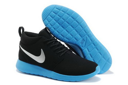 Nike Roshe Run High Cut Mens Shoes Black Blue On Sale Sale