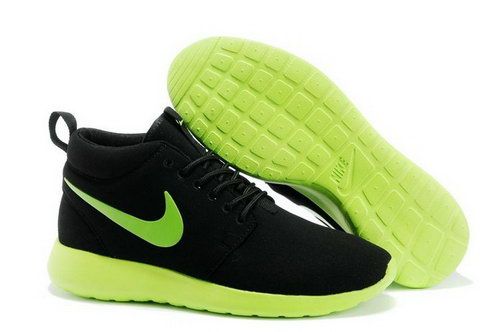Nike Roshe Run High Cut Mens Shoes Black Green For Sale