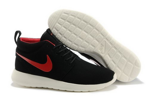 Nike Roshe Run High Cut Mens Shoes Black Red Online Store