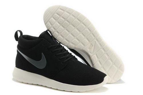Nike Roshe Run High Cut Mens Shoes Black Silver Portugal