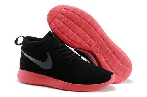 Nike Roshe Run High Cut Mens Shoes Black Watermelon Red Outlet Store