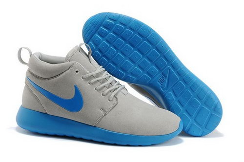 Nike Roshe Run High Cut Mens Shoes Grey Blue Clearance