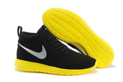 Nike Roshe Run High Cut Womenss Shoes Black Yellow Hong Kong