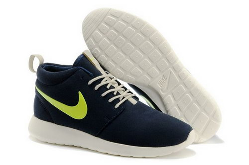 Nike Roshe Run High Cut Womenss Shoes Dark Blue Taiwan