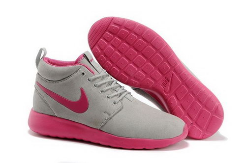 Nike Roshe Run High Cut Womenss Shoes Grey Pink Norway