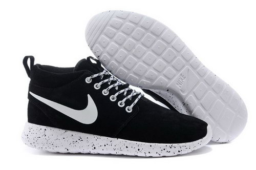 Nike Roshe Run High Mens Shoes Black White Hot Sales Korea