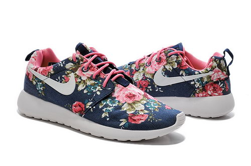 Nike Roshe Run Mens & Womens (unisex) 2015 Print Dark Blue Flower Uk