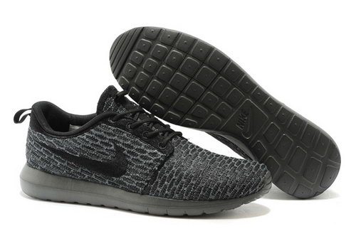 Nike Roshe Run Mens Shoes 2015 New Flynit New Deep Gray Black Low Cost