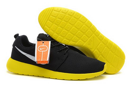 Nike Roshe Run Mens Shoes Breathable For Summer Black Yellow Online Store