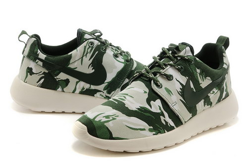 Nike Roshe Run Mens Shoes Camo Green White Hot Factory Outlet