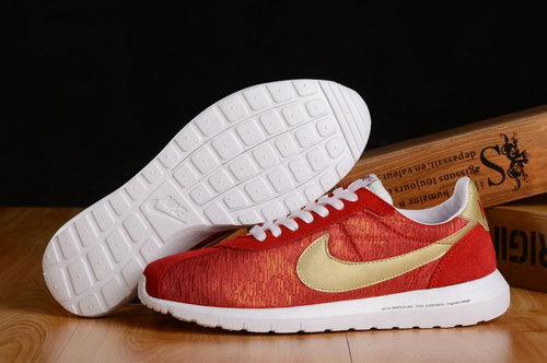 Nike Roshe Run Mens Shoes Chinese Red Gold Special Clearance