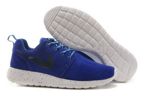 Nike Roshe Run Mens Shoes Fur Waterproof All Deep Blue White New Low Cost