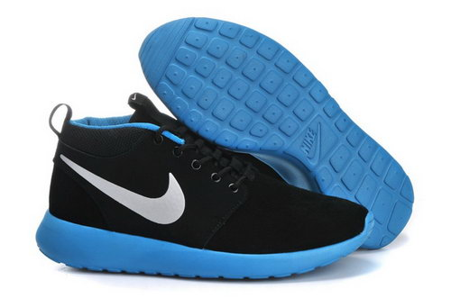 Nike Roshe Run Mens Shoes High Black Silver Blue Low Cost