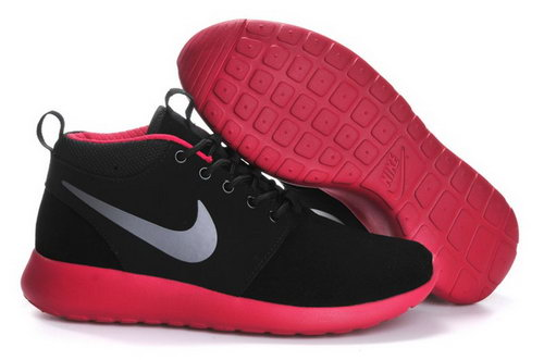 Nike Roshe Run Mens Shoes High Black Silver Red Cheap