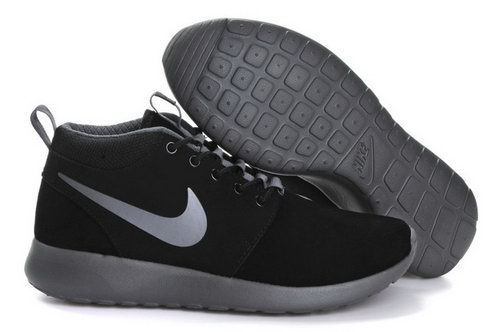 Nike Roshe Run Mens Shoes High Black Silver Best Price