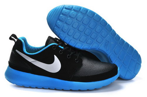 Nike Roshe Run Mens Shoes Leather Black Blue Silver Outlet