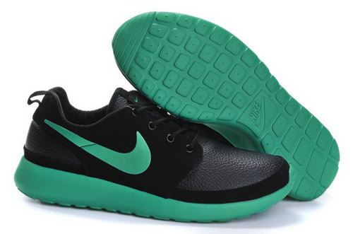 Nike Roshe Run Mens Shoes Leather Black Grass Green Discount