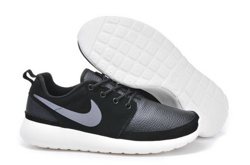 Nike Roshe Run Mens Shoes Leather Black Silver White Factory Store