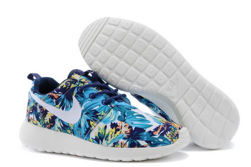 Nike Roshe Run Mens Shoes Olympic Blue Floral Factory