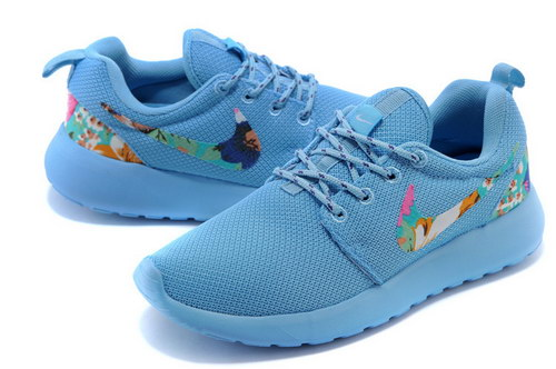 Nike Roshe Run Womens Floral Blue On Sale