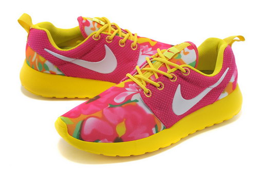 Nike Roshe Run Womens Floral Pink Fluorescent Yellow Reduced