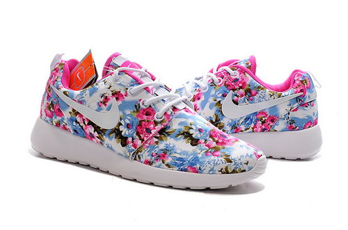 Nike Roshe Run Womens Print Light Grey Rose Red Factory Outlet