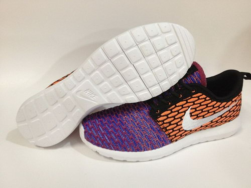 Nike Roshe Run Womenss Shoes 2015 New Flynit New Orange Black Purple Half Discount Code