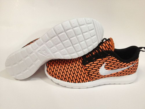 Nike Roshe Run Womenss Shoes 2015 New Flynit New Orange Black White Outlet