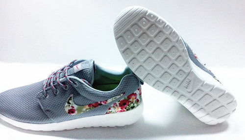 Nike Roshe Run Womenss Shoes Floral Gray Silver All New Coupon