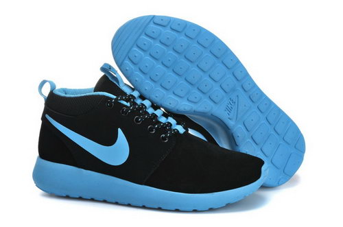 Nike Roshe Run Womenss Shoes High Black Blue New Spain