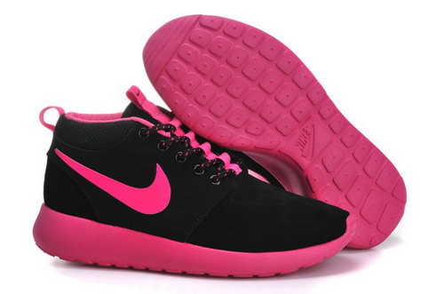 Nike Roshe Run Womenss Shoes High Black Rose Red New Germany