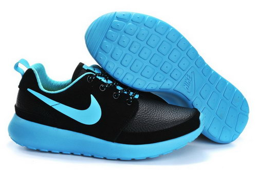 Nike Roshe Run Womenss Shoes Leather Black Blue France