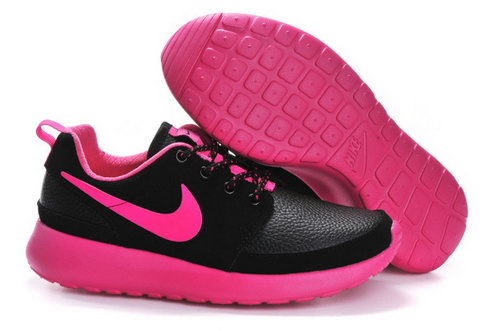 Nike Roshe Run Womenss Shoes Leather Black Rose Red Taiwan
