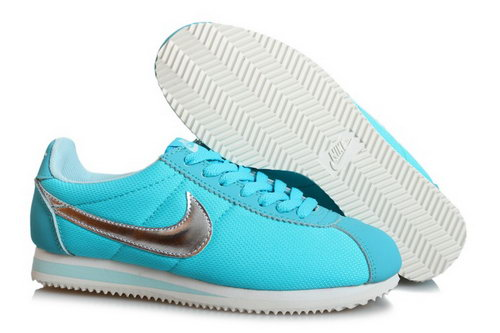Wmns Classic Cortez Nylon Shoes Baby Blue Silver