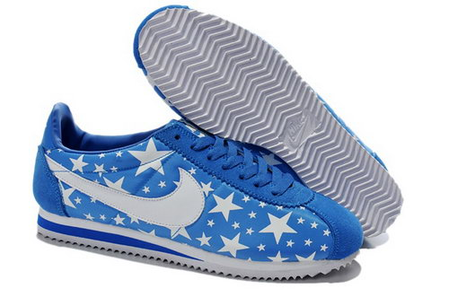 Wmns Classic Cortez Nylon Shoes Glowing Star Blue White Outlet Online