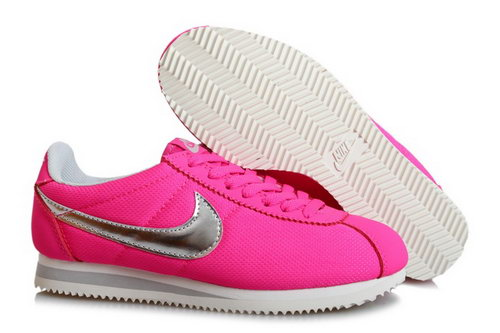 Wmns Classic Cortez Nylon Shoes Peach Red Silver On Sale