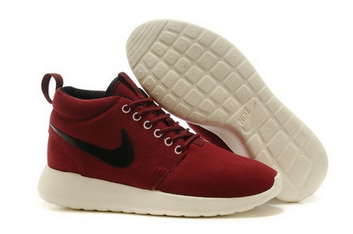 Wmns Nike Roshe Run Womenss Shoes High Warm Special Deep Wine Red Black Low Price