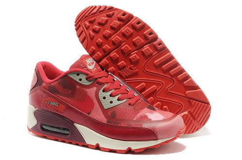 Wmns Nike Air Max 90 Prem Tape Sn Women Red And Gray Running Shoes Promo Code