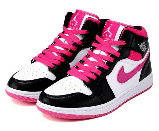 Womens Air Jordan Retro 1 Black White Pink Greece