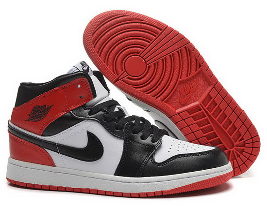 Womens Air Jordan Retro 1 Black White Red Reduced