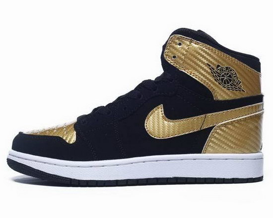 Womens Air Jordan Retro 1 Gold Black Hong Kong