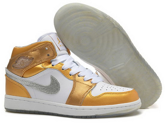 Womens Air Jordan Retro 1 Gold Silver White France