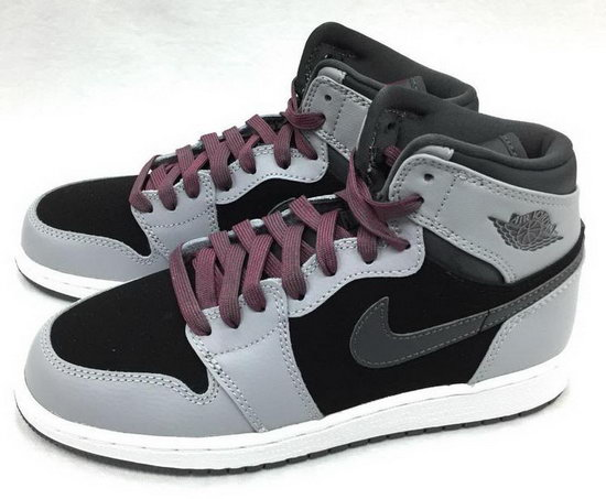 Womens Air Jordan Retro 1 Grey Black Dark Pink Norway