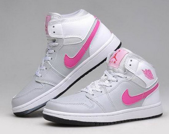 Womens Air Jordan Retro 1 Grey White Pink Online Shop